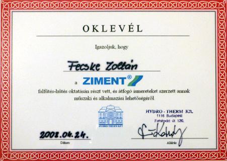 Oklevél Ziment